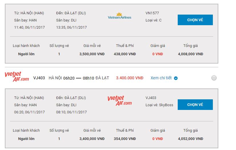 so sánh giá vé máy bay