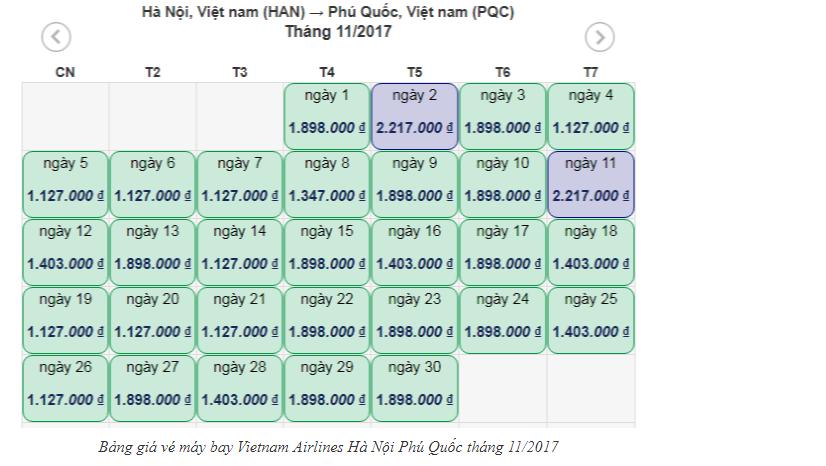 bảng giá vé máy bay vietnam airline