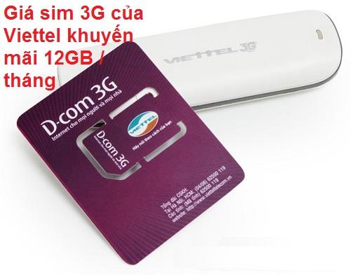 Giá sim 3G của Viettel khuyến mãi 12GB / tháng