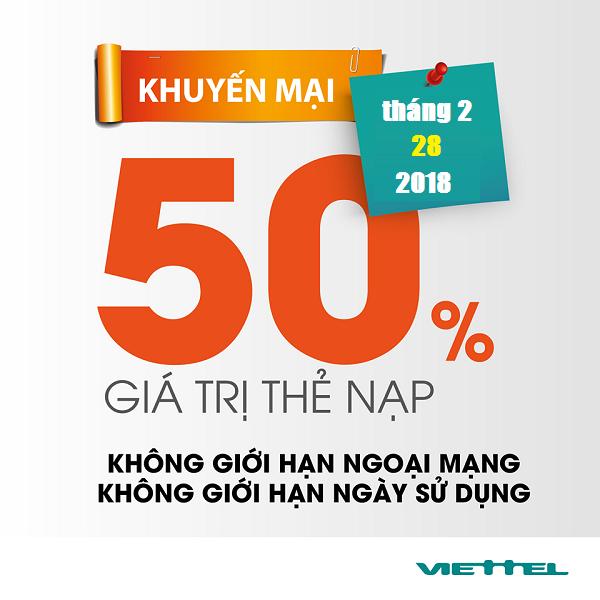 Viettel-khuyen-mai-50-gia-tri-the-nap-ngay-28-2-2018