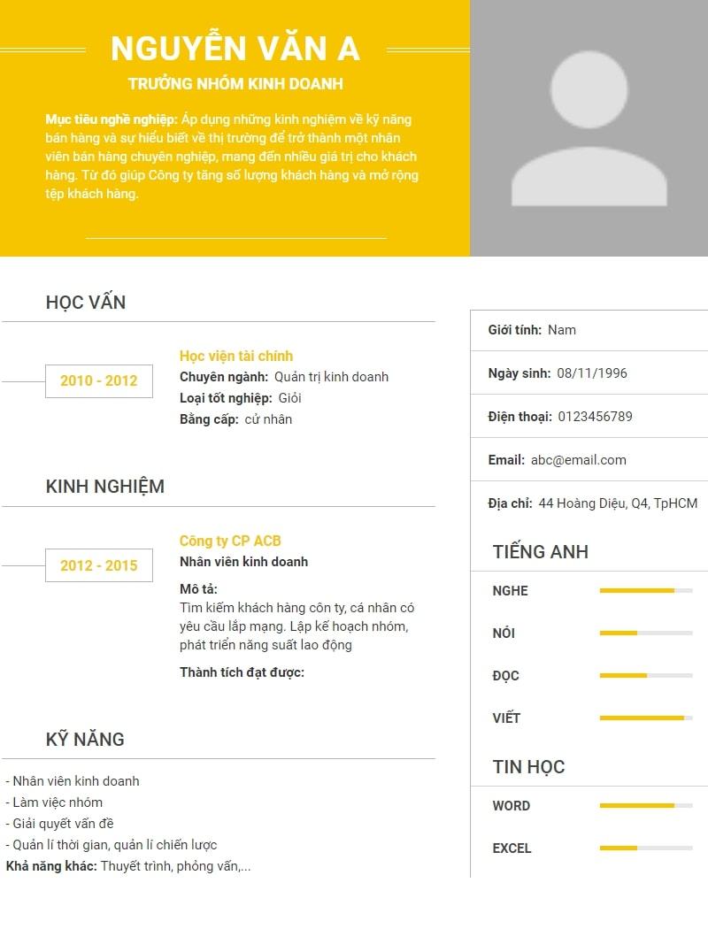 Download mẫu CV xin việc đơn giản