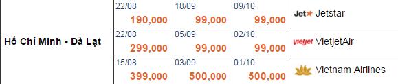 giá vé máy bay từ TPHCM đi Đà lạt