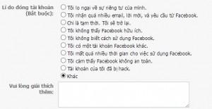 khóa facebook tạm thời