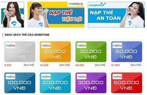 mệnh giá thẻ mobifone