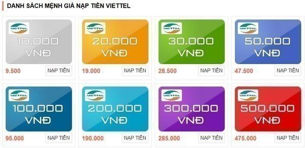 mệnh giá thẻ cào Viettel