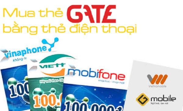 mua thẻ Gate bằng thẻ điện thoại