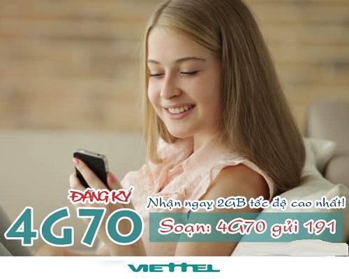 Hướng dẫn chi tiết cách đăng ký gói cước 4G70 Viettel