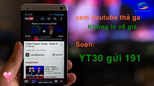 Đăng ký ngay gói cước 3G Youtobe của Viettel nhận ngay 30Gb miễn phí