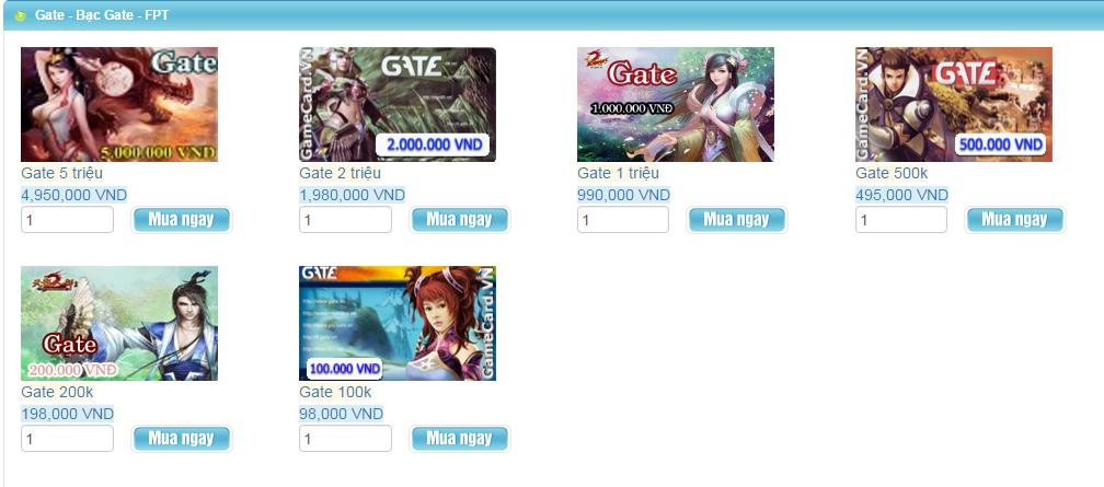 Mua thẻ Gate online chiết khấu hấp dẫn