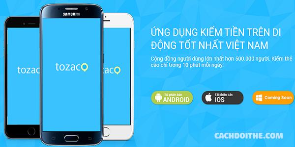 Cách đổi thẻ cào với ứng dụng Tozaco
