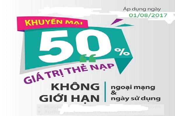 Khuyến mãi 50% giá trị thẻ nạp cho thuê bao Viettel vào ngày 1/8/2017