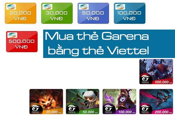 Hướng dẫn nạp thẻ game Garena bằng thẻ điện thoại Viettel