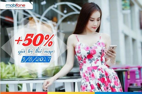 Mobifone khuyến mãi 50% thẻ nạp toàn quốc ngày 3/8