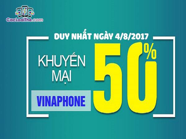 Khuyến mãi Vinaphone 50% ngày 4/8/2017