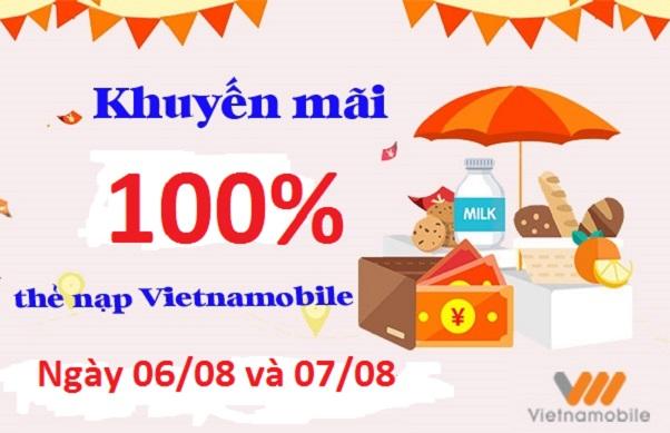 Vietnamobile khuyến mãi nạp tiền tặng 100% giá trị thẻ nạp ngày 06-8 và 07-8