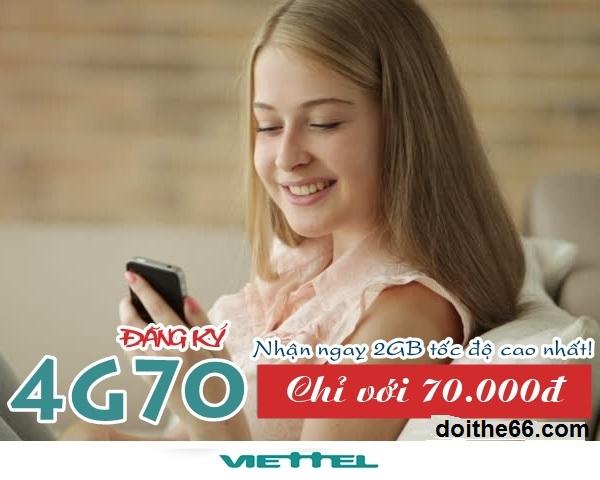 Hướng dẫn chi tiết cách đăng kí gói 4G70 Viettel
