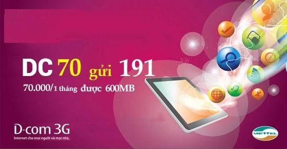 Hướng dẫn chi tiết cách đăng ký gói cước 3G DC70 Viettel