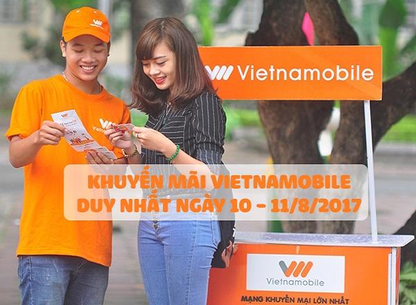 Khuyến mãi Vietnamobile nạp thẻ ngày 10 - 11/6/2017