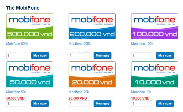 Các loại mệnh giá thẻ cào Mobifone và giá trị sử dụng của nó