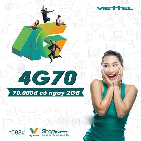Hướng dẫn đăng ký gói cước 4G70 Viettel để nhận 2GB tốc độ cao