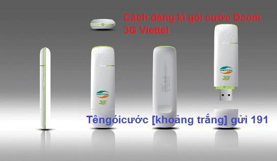 Hướng dẫn nhanh cách đăng kí gói cước Dcom 3G Viettel