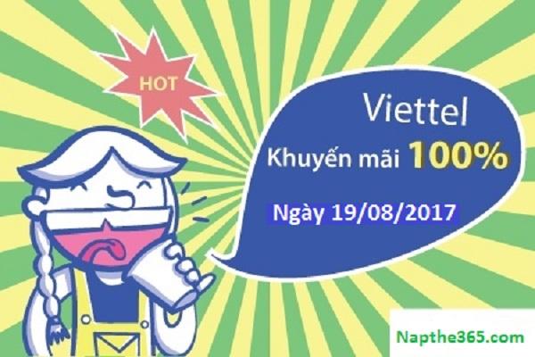 Khuyến mãi Viettel tháng 8/2017 tặng 50% giá trị thẻ nạp ngày 19