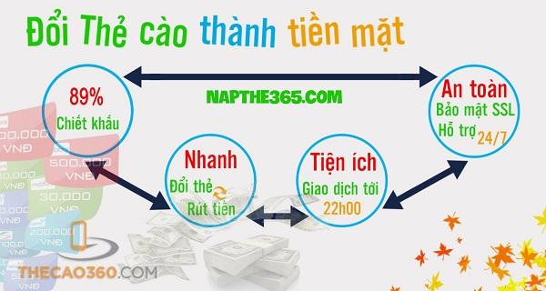 5 lý do lựa chọn đổi thẻ cào thành tiền mặt tại Napthe365.com