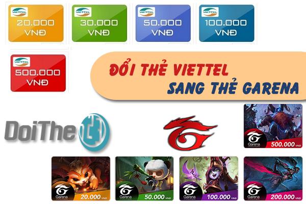 Đổi thẻ cào Viettel sang thẻ Garena để nạp game nhanh chóng