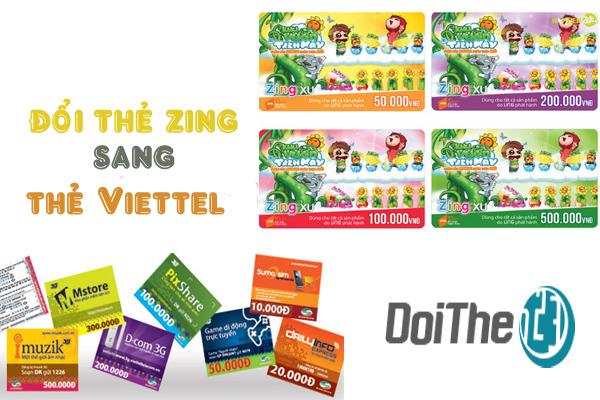 Đổi thẻ Zing sang thẻ điện thoại Viettel nhanh nhất tại doithe123.com