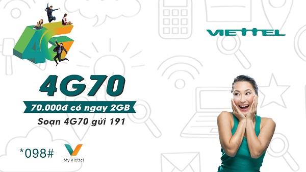 Đăng ký gói cước 4G70 Viettel nhanh chóng nhất