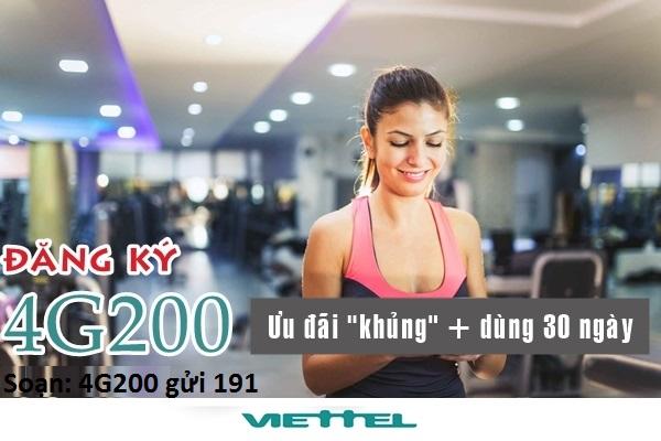 Gói cước 4G200 Viettel đăng kí nhận ngay ưu đãi khủng