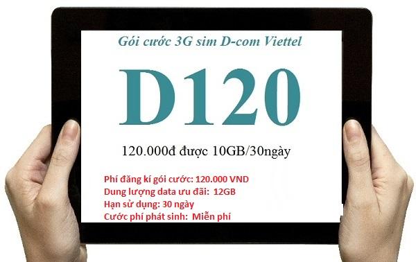 Đăng ký gói cước D120 Viettel để nhận  ngay 12GB Data cho Dcom