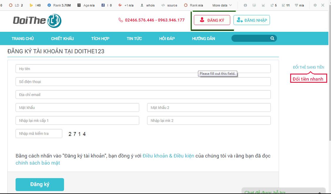 Hướng dẫn đăng ký tài khoản trên website đổi thẻ uy tín nhất thị trường doithe123.com