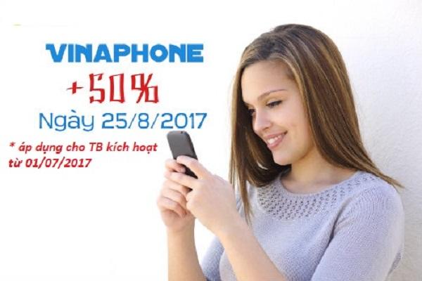 Vinaphone khuyến mãi 50% giá trị thẻ nạp ngày 25/08 cho thứ 6 vui vẻ