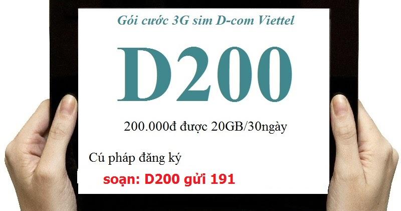 Đăng ký gói cước D200 Viettel có ngay 20GB/tháng cho Dcom