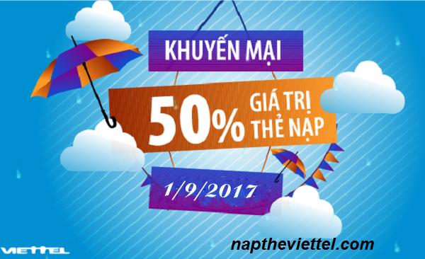 Khuyến mãi Viettel - tặng 50% giá trị thẻ nạp ngày 1/9