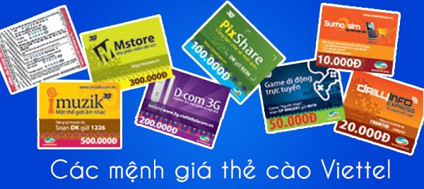 Các mệnh giá thẻ cào Viettel trên thị trường hiện nay