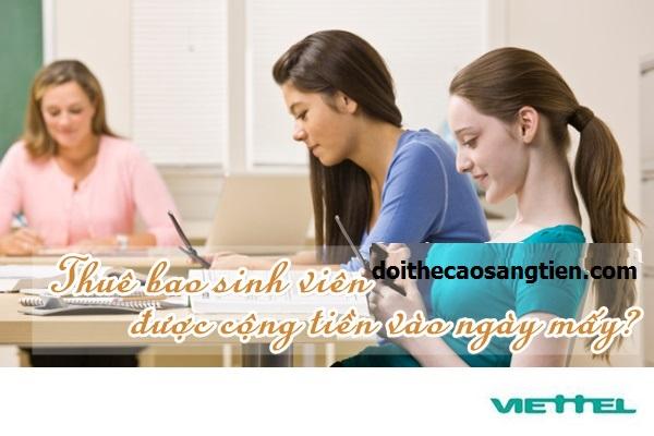 Thời gian để cộng tiền hàng tháng cho sim sinh viên Viettel