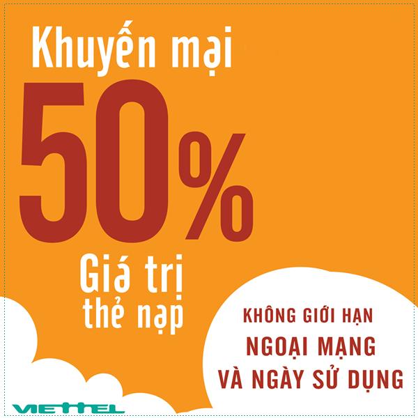 Mừng quốc khánh Viettel tung chương trình khuyến mãi 50% giá trị thẻ nạp ngày vàng 1/9/2017