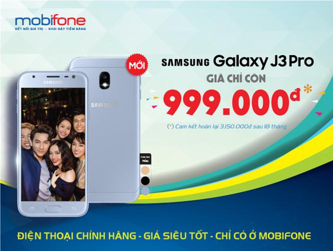 Mua điện thoại sam sung J3 pro chỉ 999k tại cửa hàng mobifone