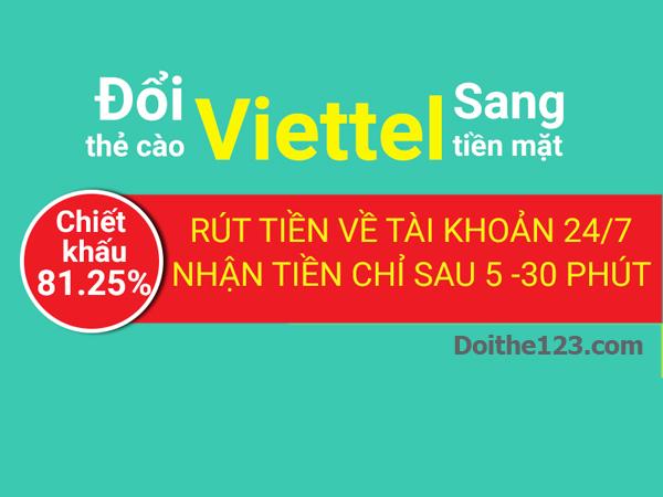 Đổi thẻ Viettel thành tiền mặt chiết khấu hấp dẫn tại Doithe123.com