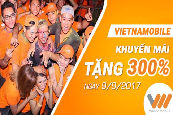 Vietnamobile khuyến mãi khủng tặng 300% giá trị cho thuê bao trả trước nạp tiền ngày vàng 09/09
