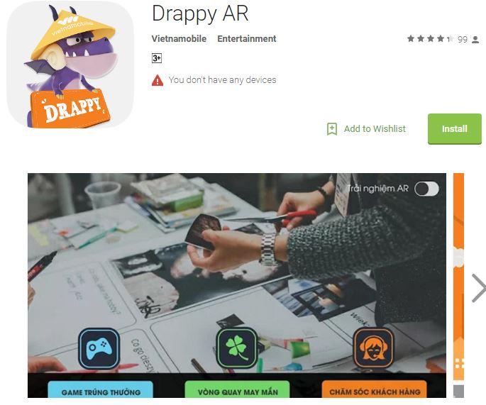 Ứng dụng thực tế tăng cường Drappy AR của nhà mạng nào bạn có biết?