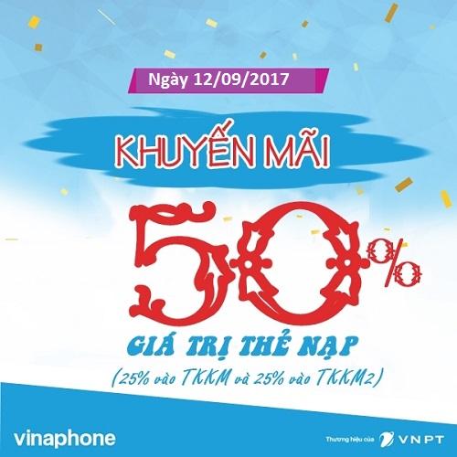 Khuyến mãi Vinaphone ngày vàng 12/09/2017 tặng 50% giá trị thẻ nạp