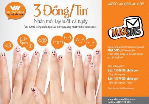 Dịch vụ MaxSMS và Maxi Talk hấp dẫn của Vietnamobile bạn có biết?