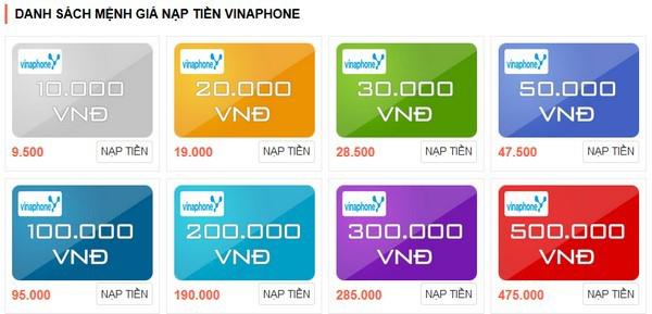 Các mệnh giá thẻ cào Vinaphone