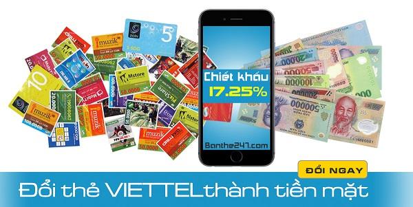 Đổi thẻ cào viettel sang tiền mặt nhanh nhất tại banthe247.com