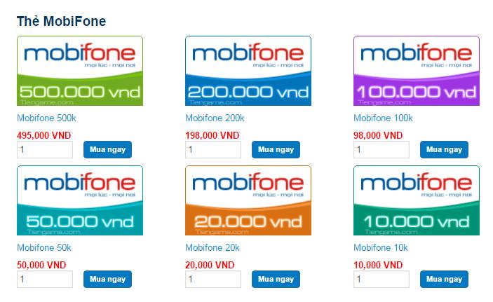 Thẻ cào Mobifone có bao nhiêu số?