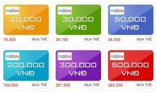 Các mệnh giá thẻ Mobifone hiện nay