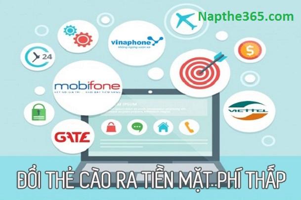 Phí dịch vụ đổi thẻ cào ra tiền mặt siêu rẻ chỉ có tại Napthe365.com